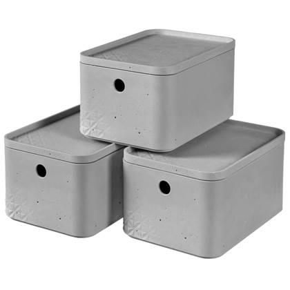 Curver Opbergbox met deksel 3 st Beton maat S lichtgrijs